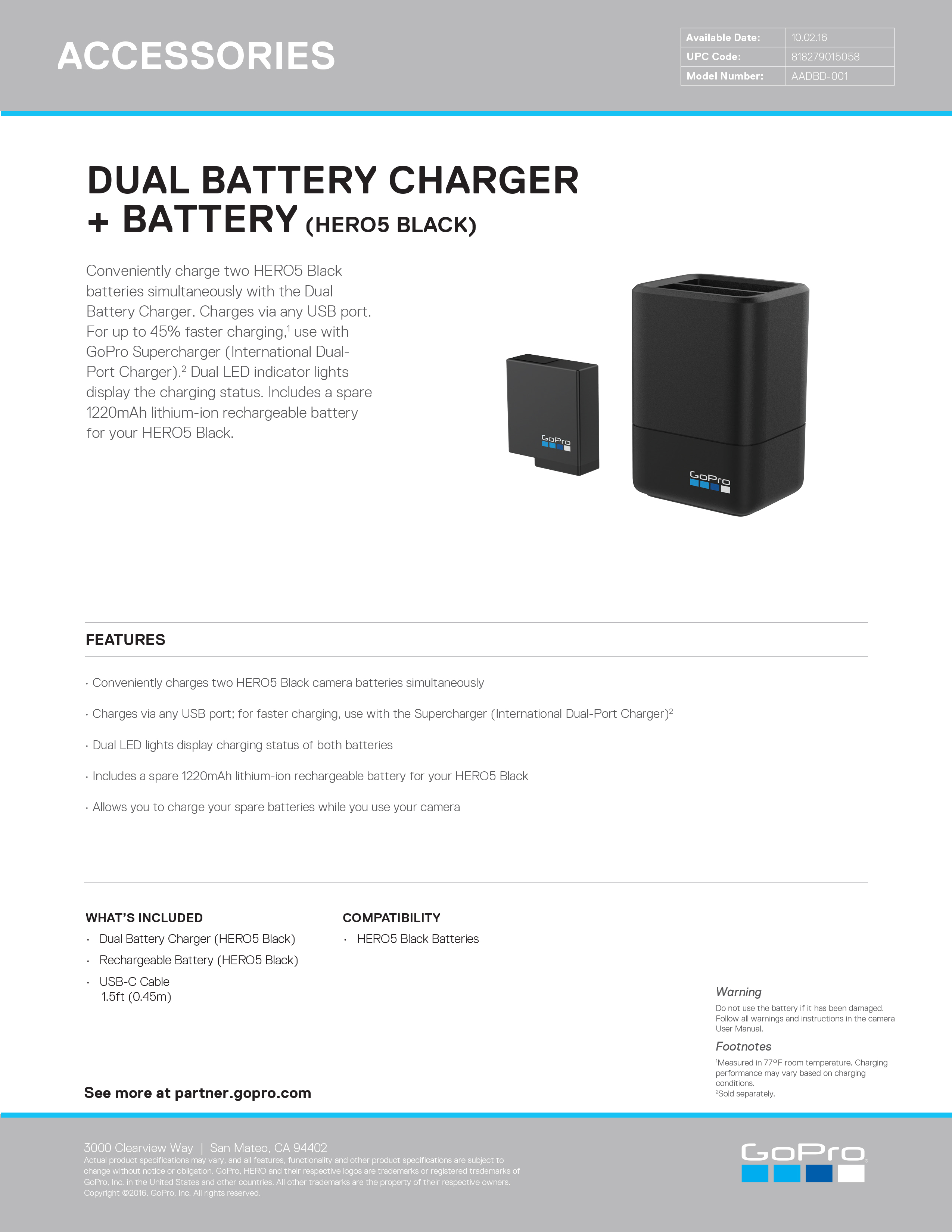 26627970 Dual Battery ChargerBattery HERO5 Black Sell Sheet master
